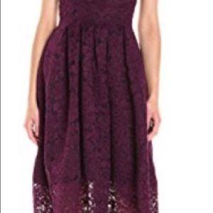 Vera Wang Strapless Lace Tea Length Dress